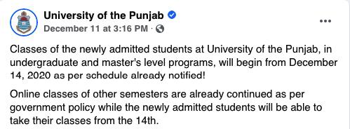 PU Online Classes 14th Dec 2020